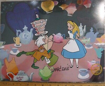 Hand Signed Alice Wonderland Madd Hatter Sericel signed MARC DAVIS Background