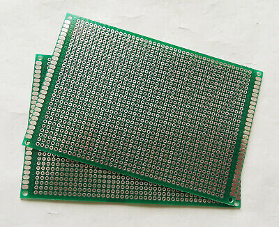 2pcs Double Sided Perf Board Pcb - Through Plated Holes Diy Breadboard 8x12cm