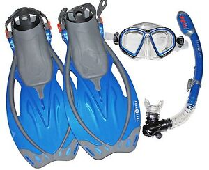 Aqua-Lung-Snorkel-Fins-Mask-Blue-Fin-Size-Mens-4-1-2-8-1-2-Women-5-1-2-9-1-2
