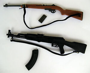 Lot of 2 Toy Firearms 1:6 Scale Action Figure Gun WWII M1 Rifle Garand and AK47