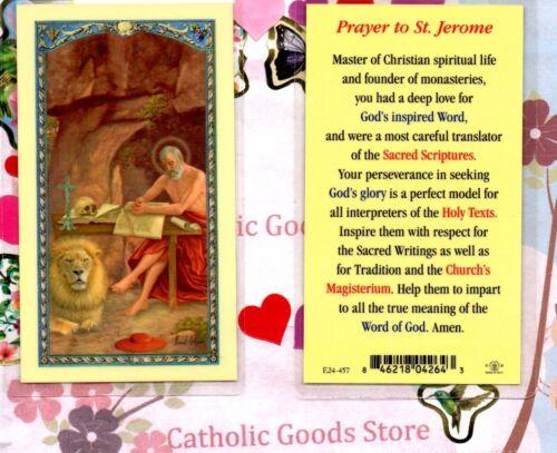 Saint Jerome with Prayer to St. Jerome on back - Laminated Holy Card