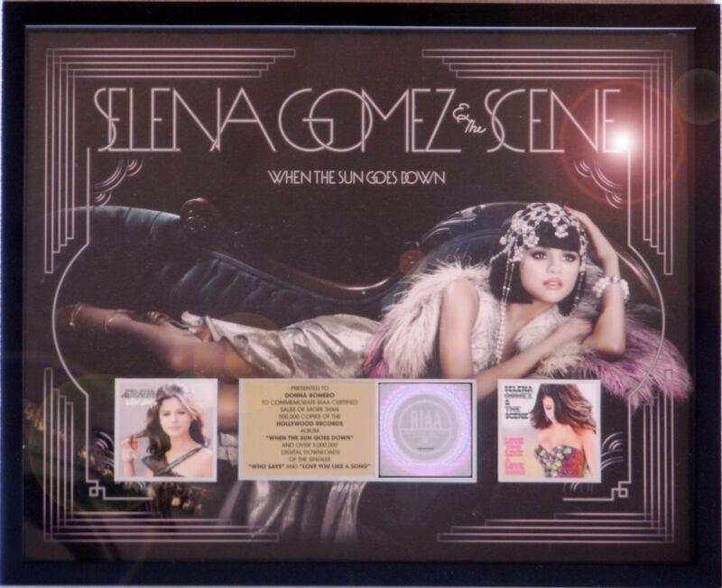 """SELENA GOMEZ """"WHEN THE SUN GOES DOWN"""" REVIVAL RIAA RECORD AWARD PLATINUM"""