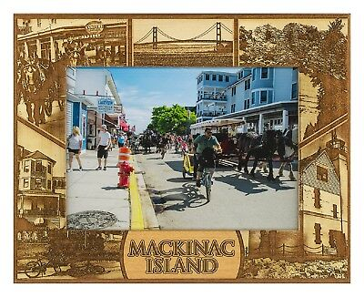 Mackinac Island Michigan Laser Engraved Wood Picture Frame (5 x 7)