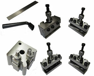 RDGTOOLS QUICK CHANGE TOOLPOST SET FOR MYFORD LATHE WITH PARTING + VEE HOLDER