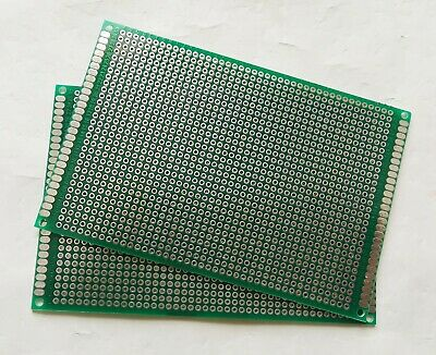 2pcs Double Sided Fr-4 Pcb Prototyping Perf Board Breadboard Diy 8x12cm 80x120mm