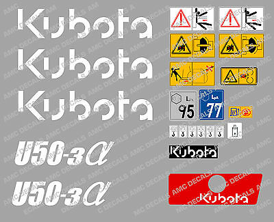 Kubota U50-3 Mini Digger Complete Decal Set With Safety Warning Signs