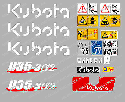 Kubota U35-3a2 Mini Digger Complete Decal Set With Safety Warning Signs