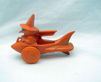 Halloween Orange Witch In A Rocket w/Jack-O-'Lantern Wheels RARE - 1950's Candy