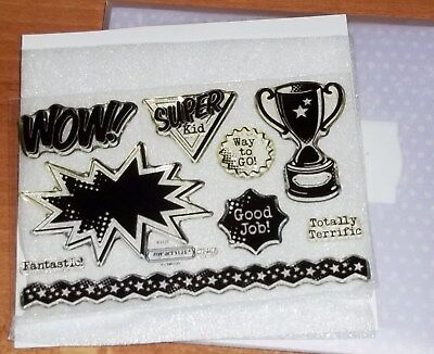 CTMH C1487 SUPERHERO WORKSHOP STAMP ~ Totally terriftic, TROPHY, Fantastc, WOW!