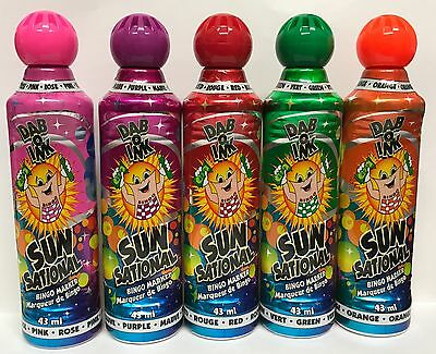 5 X BRIGHT BINGO DABBERS SUN SATIONAL DAB O INK MIXED