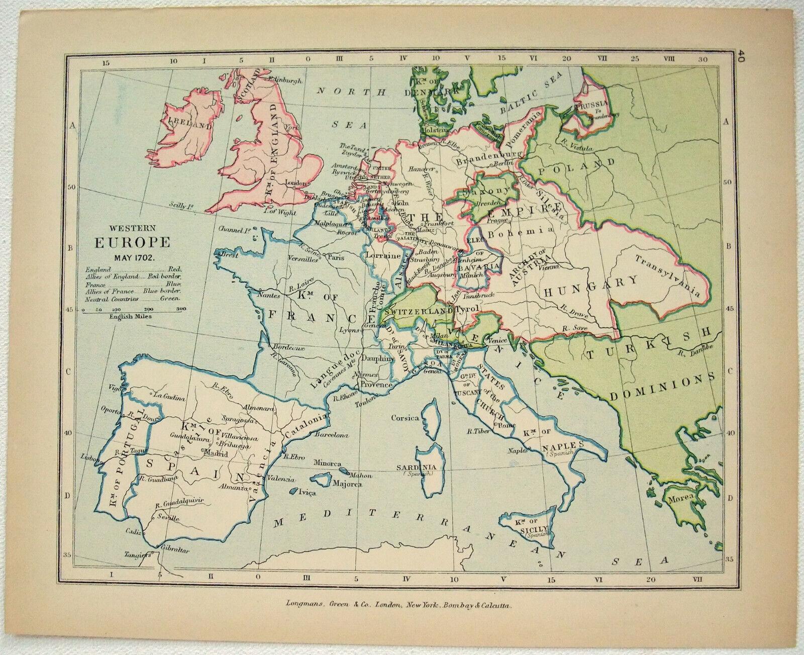 Vintage Map of Western Europe in May 1702 by Longmans Green