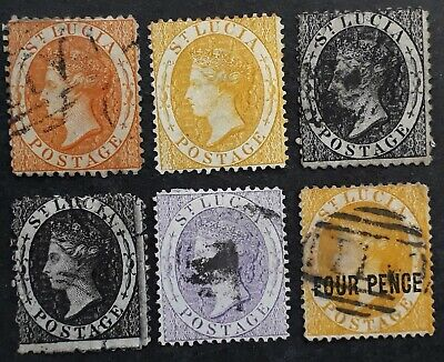 RARE 1863- St Lucia lot of 6 QV Definitive stamps Mint & Used