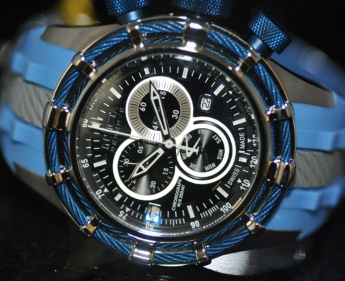 Invicta Men s Rare Reserve Swiss Chronograph Black Dial Blue Poly Watch 20447 - $165.00