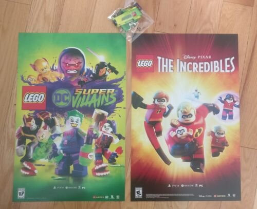 LEGO DC SUPER VILLAINS / THE INCREDIBLES original 2-sided poster 11x17 + lanyard