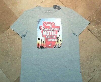 *NWT Nautica Short Sleeve Graphic Tee Shirt Cotton Blend Gray Heather XL