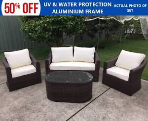 Wicker Rattan Luxury 4 Piece Outdoor Indoor Set with Coffee Table Roselands Canterbury Area Preview