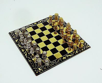 1:12 Deluxe Metal Chess Set & Board Dolls House Miniature Game Accessory