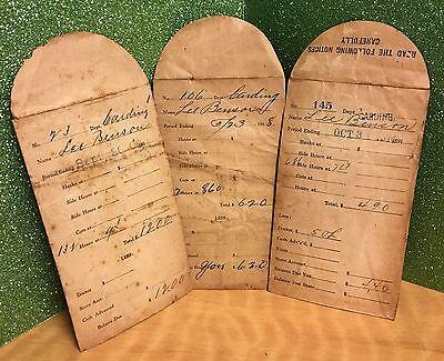 Vintage Tallassee Mill Paystub Envelopes Dated 1906 to 1917 Tallassee Alabama