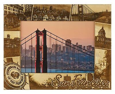 San Francisco California Laser Engraved Wood Picture Frame (5 x -