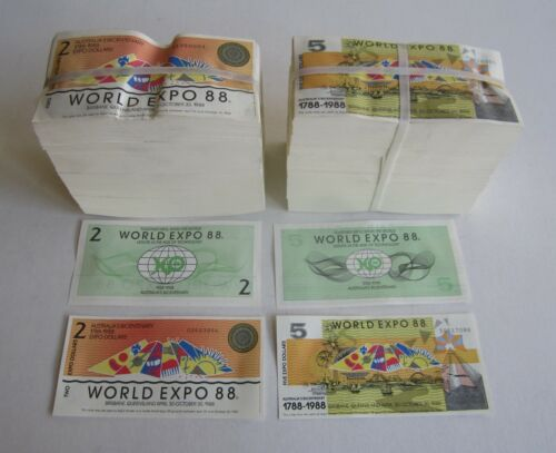 HUGE WHOLESALE Lot - 2,000 1988 AUSTRALIA World Expo NOTES $2 - $5 - 2 BUNDLES