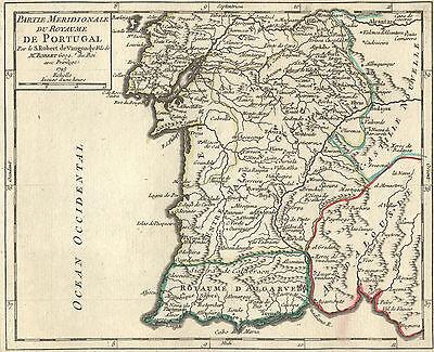 PORTUGAL Königreich ALGARVE  Landkarte Vaugondy 1749 kol: Kupferstich Original!