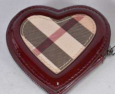 New Burberry Red Coated Canvas Nova Check Heart Zip Around Coin Purse Bag DEFECT