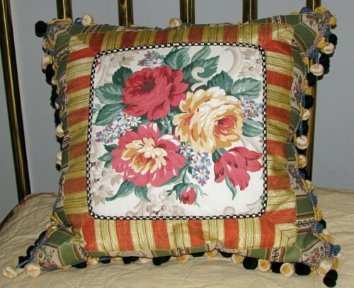mackenzie childs pillow cabbage roses daises ball fringe