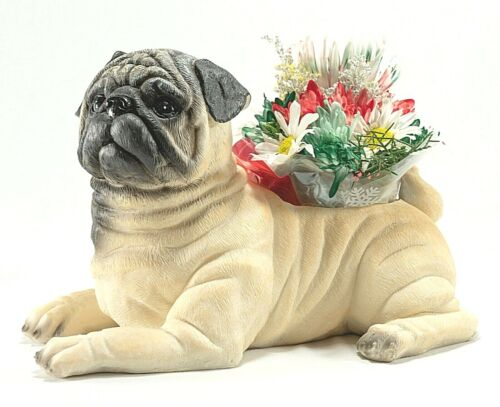 PUG Life-Like Planter Dog Hand Painted Poly Stone Beautiful High Quality PUG NIB