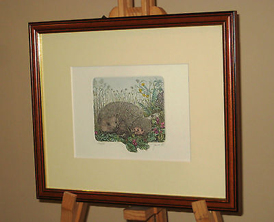 Framed & Signed Limited Edition Etching Print of a Hedgehog & Her Young 176/350