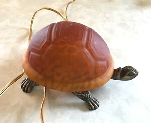 Decorative glass and metal turtle table lamp