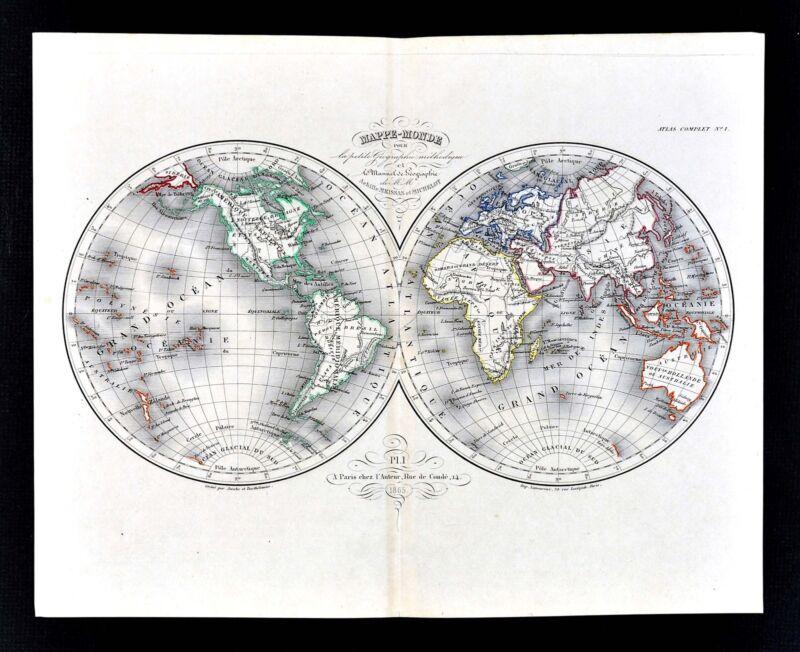 1865 Meissas & Michelot Map - World in Hemispheres - America Europe Africa Asia