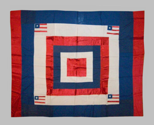 Antique Vtg C 1900s Folk Art Red White Blue Flags Unfinished Quilt Top Very Nice