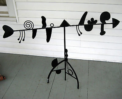 Kinetic Mobile Standing Iron Sculpture Modern Abstract Composition