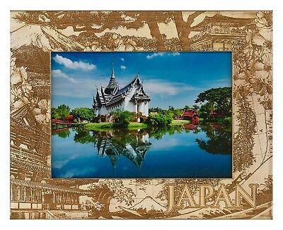 Wood Engraved Frame - Japan Laser Engraved Wood Picture Frame (5 x 7)