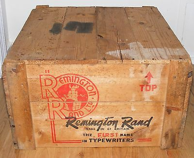Vintage Remington Rand Typewriter Wooden Shipping Crate Great Graphics LARGE