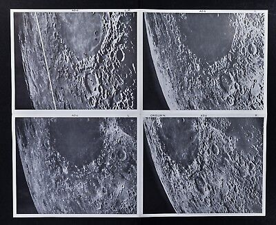 1960 Photographic Lunar Moon Map - 4 Photo Set - Field Crisium N. A3 - Craters