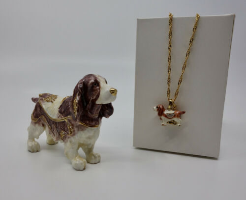 * WOW! ENGLISH SPRINGER SPANIEL BEJEWELED TRINKET BOX WITH MATCHING NECKLACE *