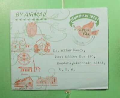 DR WHO 1972 TONGA CHRISTMAS ISSUE PICTORIAL AEROGRAMME TO USA  g16743