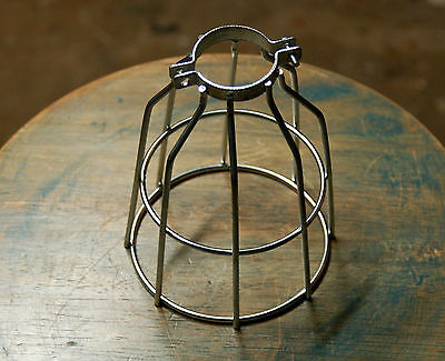 Steel Bulb Guard, Clamp On Metal Lamp Cage, For Vintage Trouble Light Industrial