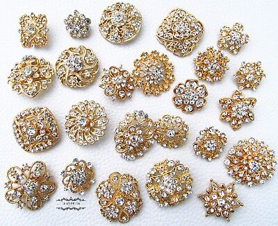 24 Brooch Lot Gold Rhinestone Mixed Pin Wholesale Crystal Wedding Bouquet DIY