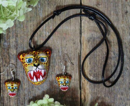 Clay Jaguar Necklace & Earrings Handmade & Hand Painted Puebla Mexican Folk Art