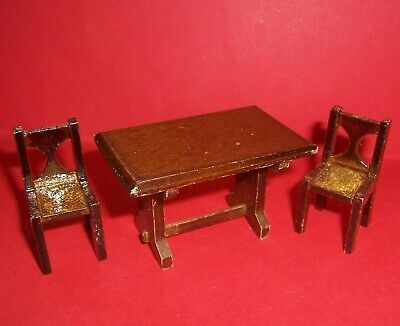 VINTAGE DOLLS HOUSE DOL TOI DARKWOOD DINING TABLE & CHARS 16th LUNDBY SCALE