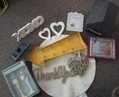 Wedding Items, Signs, Drink Goblets, Record book, knicknacks