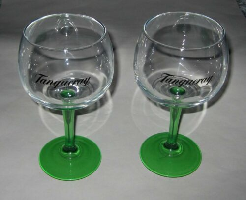 "2 Tanqueray Gin 8"" COCKTAIL BALLOON GLASSES Limited Edition green stem"