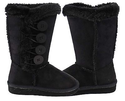 Girls Black Winter Faux Suede Furing Lining Boots Button Up Stitching Mid Calf