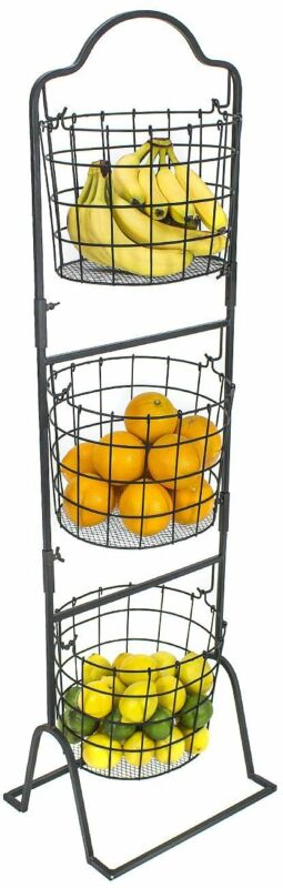 Sorbus 3-Tier Wire Market Basket Stand for Fruit, Vegetables, Toiletries,...