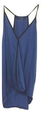 NEW Papermoon Blue Black Stripe Strap Cross Front Surplice Tank Top