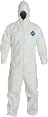 DUPONT TY127 WHITE TYVEK COVERALL BUNNY SUIT HOOD w/ ELASTIC WRIST & ANKLES