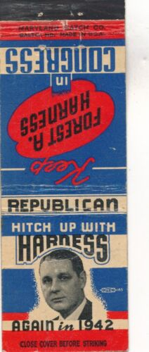 1942 Foster Harness for US Congress Indiana IN match book