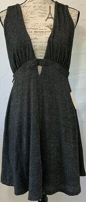 Free People Black Dress Size Large Womens Party Dress Silver Specs NWT MSRP $108